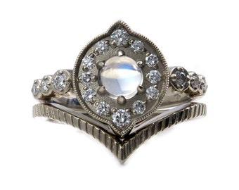 Art Deco Moonstone Engagement Ring - Diamonds and 14k Palladium White Gold with Nesting Wedding Band