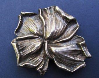 On Sale Art Nouveau Kerr Sterling Silver Flower Brooch Antique Pin Jewelry Watch Fob Circa 1910