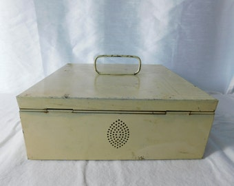 Vintage Off White Metal Box with Handle and Air Holes - Shabby Chippy - For Use as is or Repurpose   Box ii