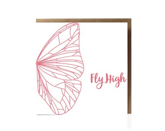 Butterfly Greeting Card / Fly High / Greeting Card / Pink Butterfly Illustration / Abstract Butterfly / Eco Friendly