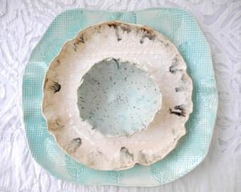 Aqua Ceramic Serving Set, Spring Decor, Pottery Platter, Serving Platter, Turquoise Pottery, Ceramic Platter, Robins Egg Blue