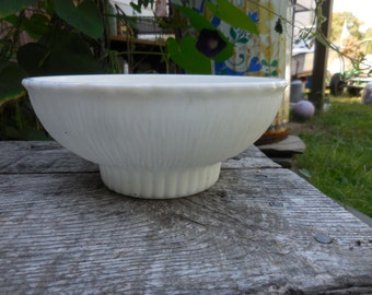 Vintage 1975 White Milk Glass F.T.D. Bowl/Planter 1970s Retro Textured Dish Pedistal Round