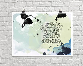 Love Him Forever 18x24 Landscape Art Poster Giclee Typography Understanding Intimacy Strong Happy Lisa Weedn