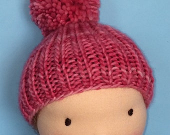 Knit Hat for 16-inch Waldorf Doll  **Cactus Flower**