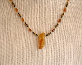 Agate and Hessonite Necklace