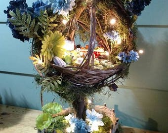 Fairy House - Treetop Fairy Basket Cottage ~ It's Spring