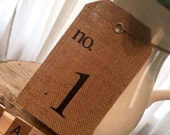 Burlap Table Number Tags (set of 10)