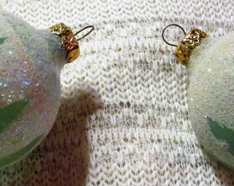 Two Vintage Christmas Tree Ornaments with Sparkly Snow