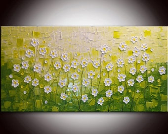 Original Modern Colorful Large Abstract Textured Impasto Knife Tree Painting 24x48 Green painting flower art filed of daisies textured