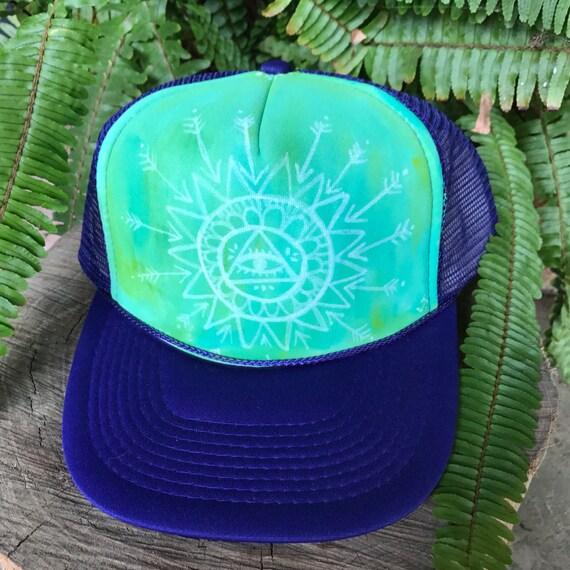Mandala Hand Painted Original Art Trucker hat by Lauren Tannehill ART SALE!
