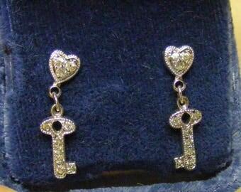 Vintage 1990s Sterling Earrings Hearts & Keys Pierced Screw Back Rhinestone Vintage Jewelry Vintage Fashions