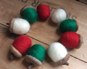 Needle Felted Acorns Christmas Holiday Nature Bowl Fillers - Set of 9