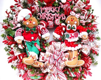 Christmas Wreath~ Gingerbread Wreath~ Candy Wreath ~Bright Red and Green~ Whimsical Christmas Holiday Wreath-Gingerbread Boy and Girl Wreath