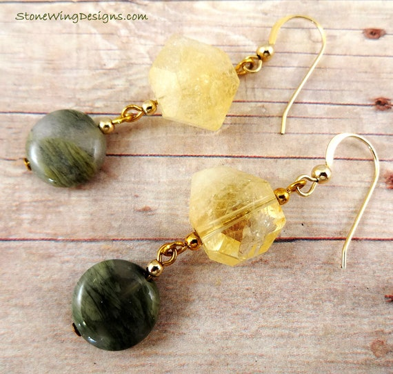 Citrine Nugget and Green Stone Earrings