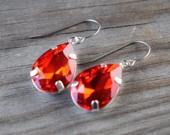 Ruby Crystal Earrings with Hypoallergenic Titanium Ear Wires