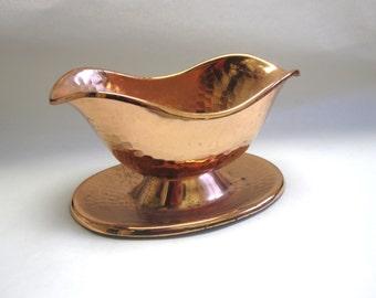 Hammered Copper Gravy Boat Vintage Teleflora Flower Dish