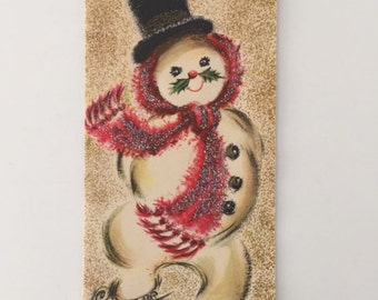 Mid Century Snowman Christmas Card, Unused, Multi Color Glitter, Top Hat, Red Scarf, Holly Mustache