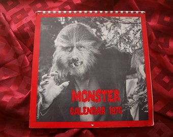 Monster Calendar 1976 Original 12 Months Frankenstein Dracula Werewolf King Kong Ghidrah Black Lagoon Mummy Dr Cyclops more Horror SciFi