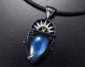 Labradorite pendant necklace, oxidized silver pendant necklace, Art Deco pendant necklace, Goth pendant necklace