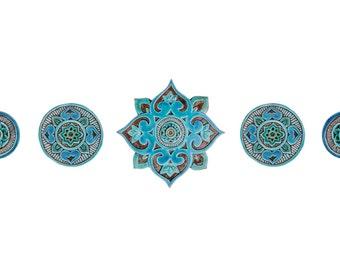 Ceramic wall art, circles wall installation made from ceramic, Ceramic tiles, Set of 5 circle wall art (varios sizes), Mandala, Turquoise