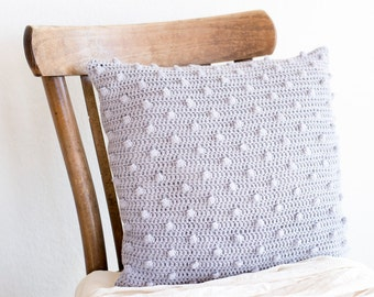 Crochet Grey Pillowcase, 16 x 16 Crochet Cotton Cushion Cover, Neutral Decorative Pillow Cover