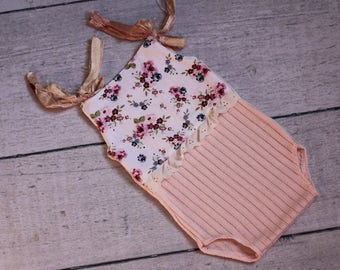 Newborn Floral Romper /  Onesie w Sari Ties