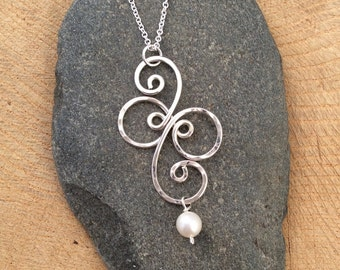 Fancy Spiral Sterling Silver Pendant with Pearl, Argentium Silver Necklace
