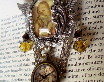 Steampunk Star Wars (P616-3) Chewbacca Tribute Brooch - Image Under Glass Cameo - Faux Pocket Watch - Crystal Dangles - Silver Framework