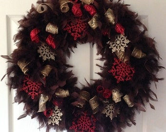 "Winter Wreath with Red, and Gold Sparkle Snowflakes 18"" Ready to Ship"