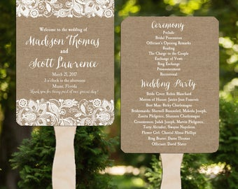Wedding Program Fans Printable or Printed/Assembled with FREE Shipping - Burlap and Lace Collection
