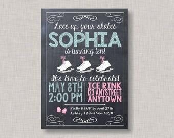 Ice Skating Invitation, Ice Skating Birthday Invitation, Ice Skating Party, Printable