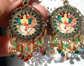 FREE SHIPPING Alphonse Mucha Handmade Resin Chandelier Earrings - Art Nouveau - LightWeight - Mother's Day - Spring Jewelry Trends