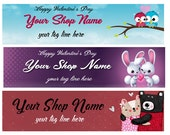 Large Etsy Facebook Cover Photo Valentine's Day Heart Love Shop Banner- Pick one