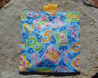 Numbers Reusable Sandwich Bag, Resuable Snack Bag, Washable Treat Bag with easy open tabs