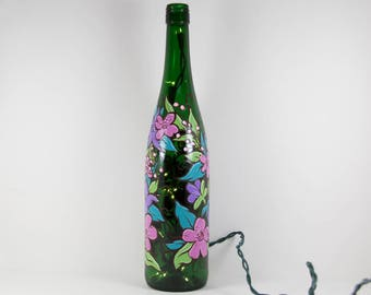Wine Bottle Light Hand Painted with Flowers, Pretty Flowers, Pink Purple Flowers on Bottle, Painted Accent Light, Garden Art Lover Gift