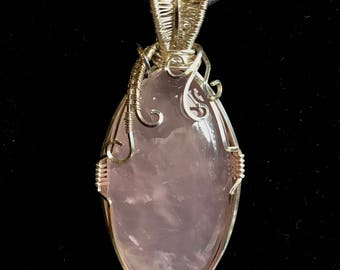 Rose Quartz wrapped in Sterling