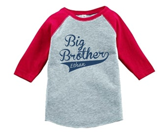 Personalized Big Brother Sports Jersey Swoosh Shirt-3/4 or long sleeve relaxed fit raglan baseball shirt-Any name - pick your colors!