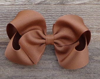 Boutique Hair Bow~Coffee/Brown Boutique Hair Bow~Fall/Autumn Boutique Bow~Large Boutique Bow~Basic Boutique Hair Bow~Simple Hair Bow