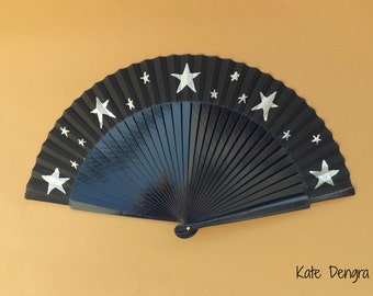 5 Pointed Star Folding Hand Fan SIZE OPTIONS Wood Fabric Hand Painted Black with Silver Stars by Kate Dengra Spain