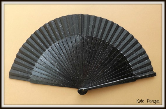 Black Glitter Christmas Festive Edition SIZE OPTIONS Hand Held Folding Fan From Spain by Kate Dengra MTO