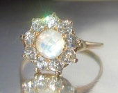 Antique Moonstone and Old European Diamond Halo Engagement Ring 14K