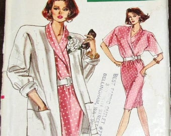 Vintage 1980s Very Easy Vogue Sewing Pattern 7253 Wrap Top Skirt Duster Jacket Womens Misses Size 14 16 18 Bust 36 38 40 Uncut Factory Folds