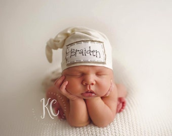 CREAM: Baby name hat, personalized hat, knot beanie, photography prop, name hat, knots, baby hat, photography prop, newborn hat