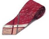 1960s Narrow Tie Red Skinny Tie Skinny Burgandy Tie 1960s Rockabilly Tie Silver Red Skinny Tie Necktie Narrow Maroon  Tie