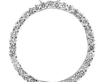 "Circle Diamond Pendant 3ct 14k White Gold 1 1/2"" Tall"
