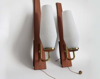 Pair of 1960s Teak Wall Lights. Midcentury Modern Danish Design sconces