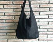 Large TOTE leather bag in BLACK. Soft natural suede genuine leather bag. Bohemian bag. BLACK suede bag.