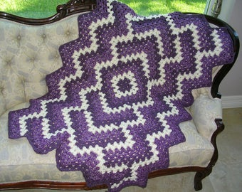 Small Crochet Afghan Purple White - Crochet Granny Blanket Lap or Baby Afghan - Modern Design Throw Blanket  - Travel Size Blanket