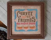 NEW Coffee & Friends cross stitch pattern by Hands On Design at cottageneedle.com Cool Beans series caffeine friends coffeehouse