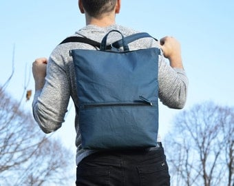 Solid Waxed Canvas Backpack, Denim Blue Minimalist Rucksack, Convertible Waterproof Laptop Carrier, Minimalist Backpack, Gift for Men